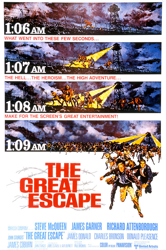 the great escape A group of allied soldiers dig a tunnel out of a nazi prison camp, pocketfuls of dirt at a time.