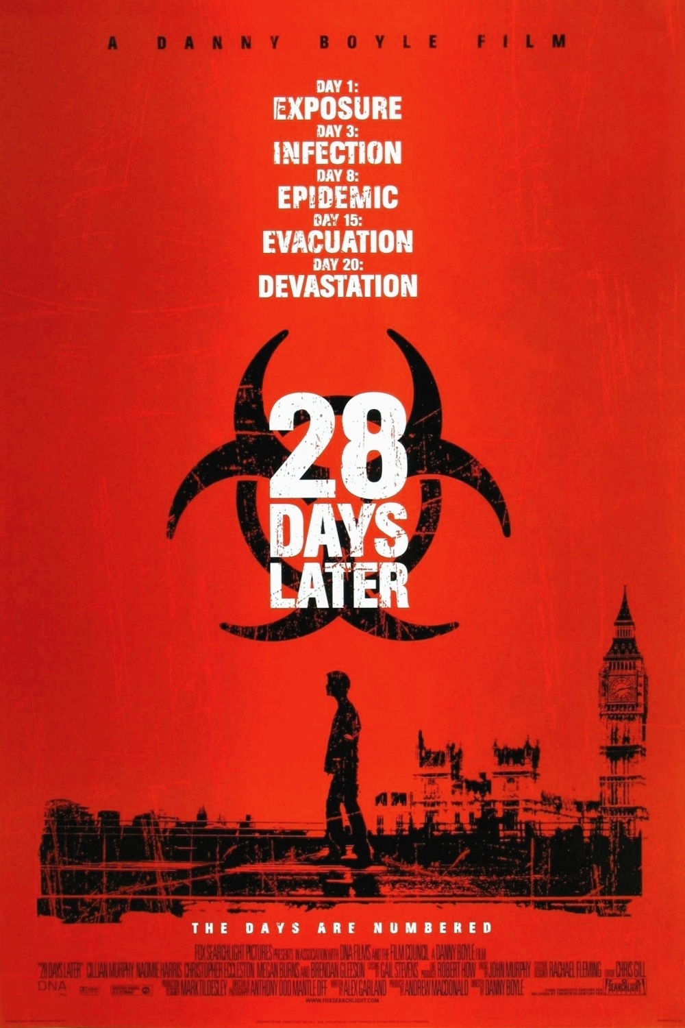 28 days later 28 days later is a 2002 british horror film directed by danny boyle set in present day england, the story depicts the breakdown of society following the accidental release of a virus known as &quotrage&quot (which renders people mindlessly violent) and focuses upon the struggle of four survivors to.