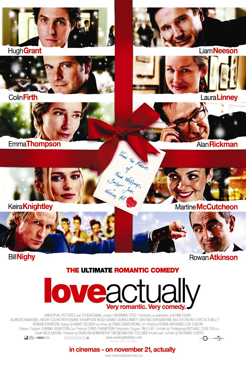love actually Love actually (2003):follows the lives of eight very different couples in dealing with their love lives in various loosely interrelated tales all set during a frantic month before christmas in london, england.