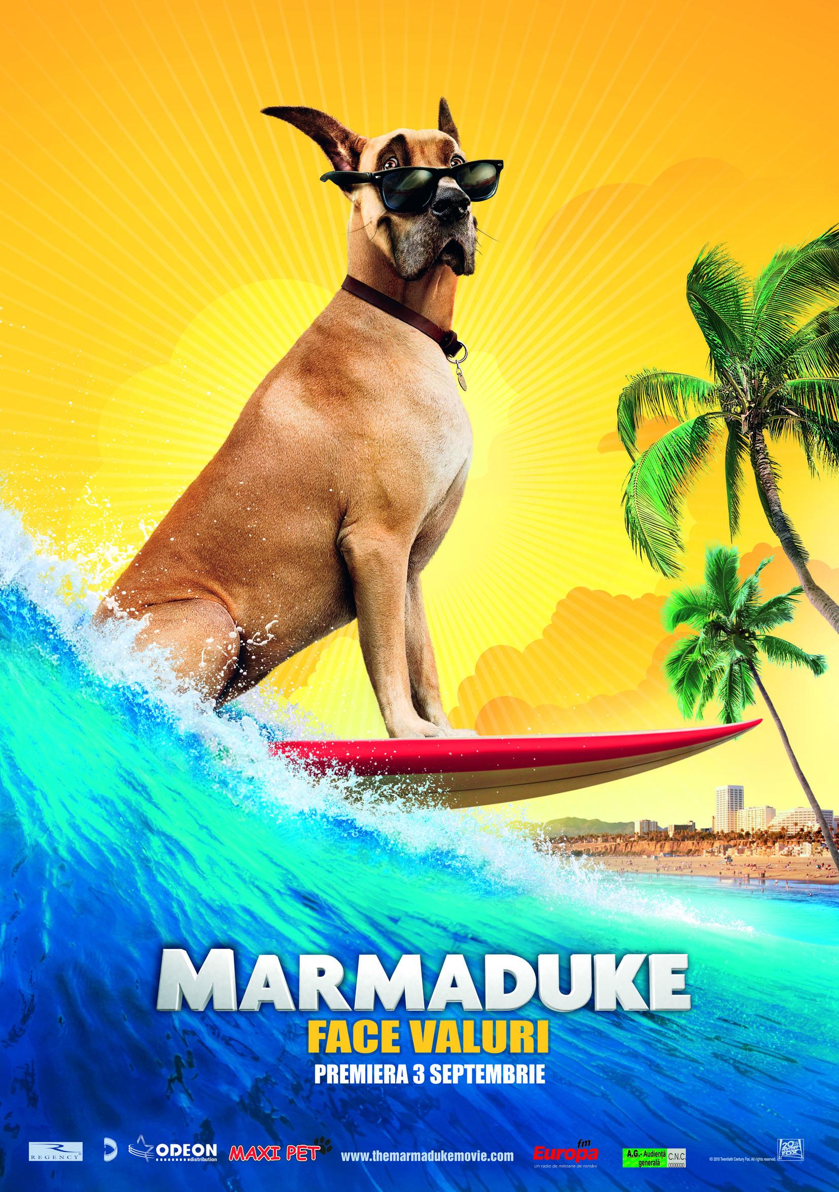Marmaduke, cel mai adorabil Mare Danez din lume, sare de la faima din benzi desenate (care apar în 600 de ziare, în peste 20 de ţări) la statutul de vedetă pe marele ecran. În această comedie de familie, uriaşul câine, care nu s-a adaptat niciodată, găseşte, în sfârşit, un loc unde poate ieşi în evidenţă. <br /><br />Acum, trăind pe picior mare în Orange County, California, Marmaduke îşi ajută familia să facă marea tranziţie din Midwest în O.C., dar descoperă, de asemenea, că integrarea cu cei patru prieteni patrupezi ai lui nu e întotdeauna uşoară pentru un câine adolescent de 90 kg.<br /><br />    Din fericire pentru Marmaduke, nu e nevoit să facă pasul singur deoarece e întotdeauna însoţit de fratele său vitreg şi cel mai bun prieten, Carlos, un motan Albastru de Rusia, care-i apără spatele.