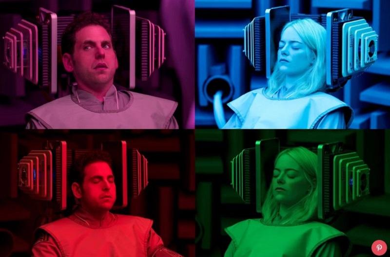Emma Stone şi Jonah Hill, în serialul Netflix Maniac