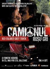 Poster Sivi kamion crvene boje
